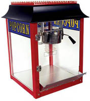 Antique style popcorn machine.  Just put in your favorite corn, salt, and oil and let the machine do all the work.  With it's turn-of-the-century look, this antique popcorn machine promises to be functional as well as a great conversation piece. The ultimate addition to any recreation room, family room, home theater, small business lobby or break area is the nostalgic ORIGINAL 1911 BRAND popcorn machine.