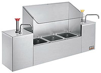 Serving Station With Sneeze Gaurd Stainless Steel pump