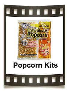 Popcorn portion kits contain just the right amount of popcorn, oil, and buttery salt.