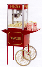 The perfect matched popcorn machine set. A theater four popcorn machine coupled with the antique styled popcorn popper cart.